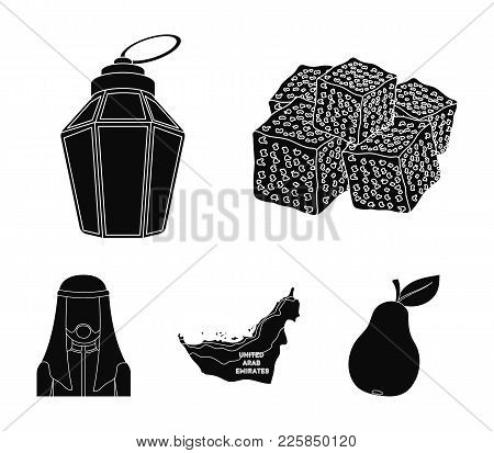 Eastern Sweets, Ramadan Lamp, Arab Sheikh, Territory.arab Emirates Set Collection Icons In Black Sty