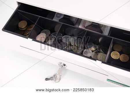 Open cash box close up