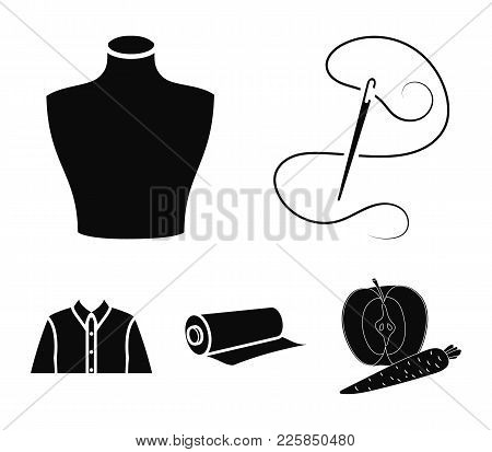 A Man's Shirt, A Mannequin, A Roll Of Fabric,needle And Thread .atelier Set Collection Icons In Blac
