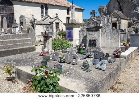 Aigueze, France - April 28, 2016: The Cemetery Of The Village Of Aigueze, A Small Village Located So