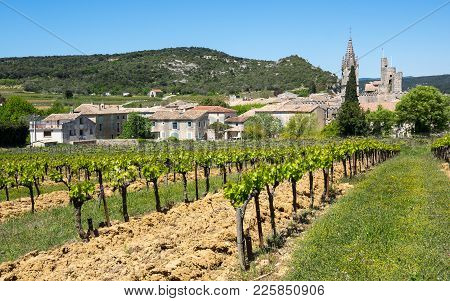Panoramic View Of Aigueze, A Small Village Located South Of France In The Department Of Gard Of The