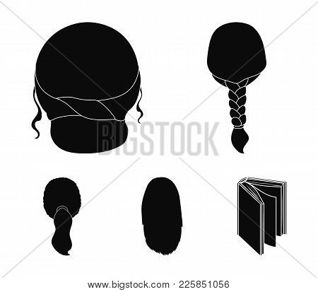 Light Braid, Fish Tail And Other Types Of Hairstyles. Back Hairstyle Set Collection Icons In Black S