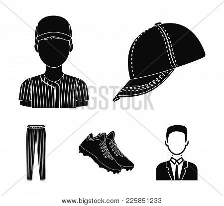 Baseball Cap, Player And Other Accessories. Baseball Set Collection Icons In Black Style Vector Symb