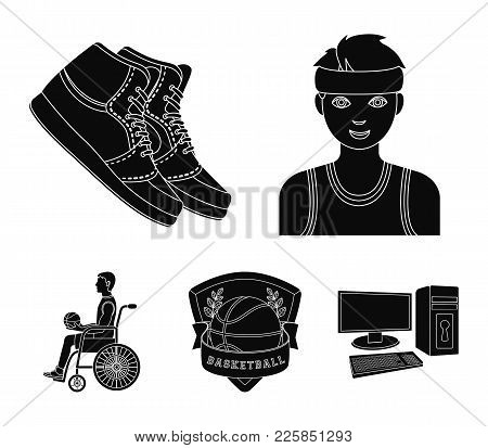 Player, Sneakers, Team Emblem, Basketball Player Disabled. Basketball Set Collection Icons In Black