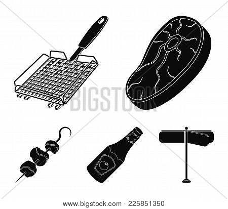 Raw Meat Steak, Grill With Handle, Bottle Of Ketchup, Shish Kebab.bbq Set Collection Icons In Black