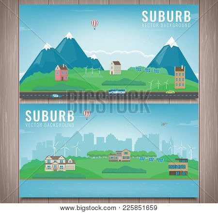 Suburban Landscape. Cityscape Template With Suburban Houses. Building Architecture, Cityscape Town.