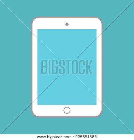 White Tablet With Blue Screen On Blue Background Vector Eps10. Illustration