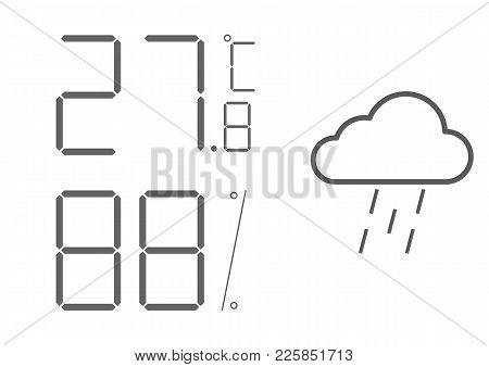 Vector Lcd Indicator, Digital Thermometer Hygrometer. Weather Station Widget, The Equipment Indicati