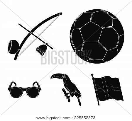 Brazil, Country, Ball, Football . Brazil Country Set Collection Icons In Black Style Vector Symbol S