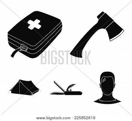 Ax, First-aid Kit, Tourist Tent, Folding Knife. Camping Set Collection Icons In Black Style Vector S