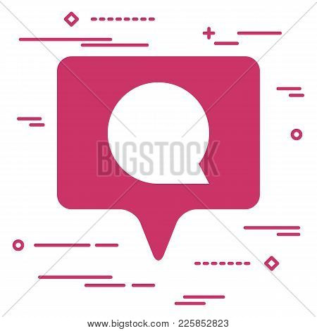 Illustration Of Flat Pink First Like Comment Social Media Icon On White Background With Line Art