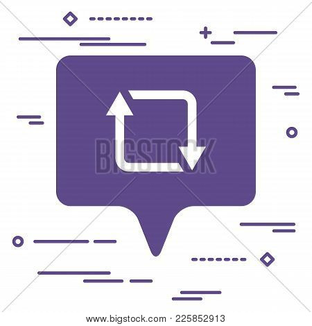 Illustration Of Flat Linear Repost, Retweet Or Refresh Social Media Icon In Ultra Violet Color