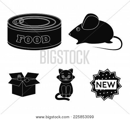 Mouse, Food In The Bank, Sick Cat, Cat In The Box.cat Set Collection Icons In Black Style Vector Sym
