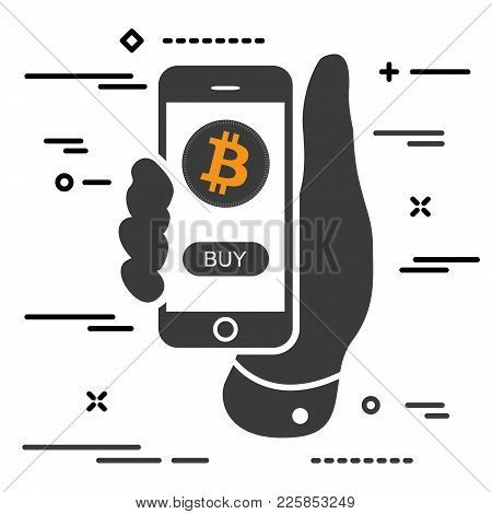 Buy Bitcoin Cryptocurrency Per Click. Man Hand Holding Phone With Crypto Coin And Buy Button On Scre