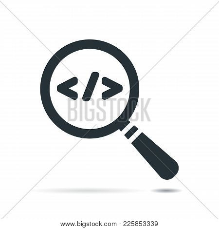 Flat Magnifying Glass With Code Symbol. Code Corner Search Icon Design Concept With Magnifier. Illus