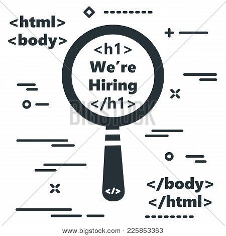 Flat Magnifying Glass With Code Symbol. Design Concept Search Icon With Magnifier And Text About Hir