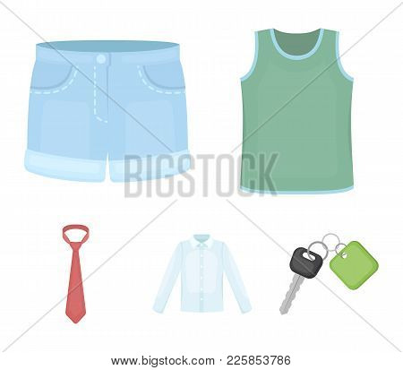 Shirt With Long Sleeves, Shorts, T-shirt, Tie.clothing Set Collection Icons In Cartoon Style Vector