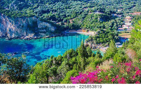 Beautiful Panoramic Aerial View Over Corfu Island Of Greece In Summertime
