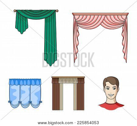 Different Types Of Window Curtains.curtains Set Collection Icons In Cartoon Style Vector Symbol Stoc