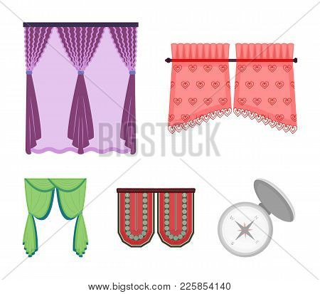 Curtains, Stick, Cornices, And Other  Icon In Cartoon Style.bow, Fabric, Tulle Icons In Set Collecti