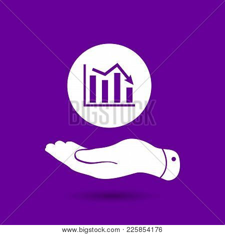 White Flat Hand Showing Icon Of Graph Going Down - Ultra Violet Vector Illustration