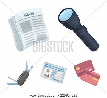 Flashlight, Newspaper With News, Certificate, Folding Knife.detective Set Collection Icons In Cartoo