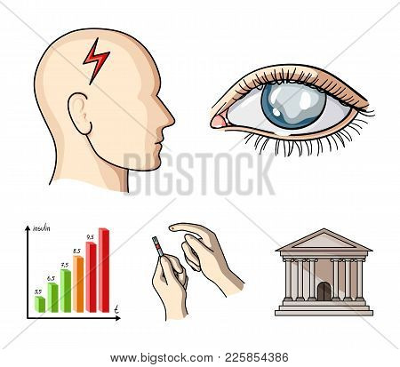 Poor Vision, Headache, Glucose Test, Insulin Dependence. Diabetic Set Collection Icons In Cartoon St
