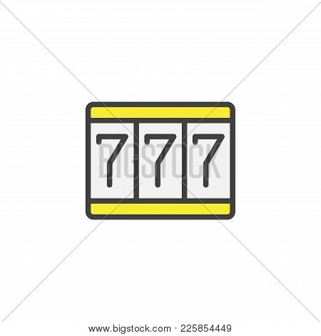 Fortune 777 Filled Outline Icon, Line Vector Sign, Linear Colorful Pictogram Isolated On White. Trip