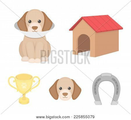 Dog House, Protective Collar, Dog Muzzle, Cup. Dog Set Collection Icons In Cartoon Style Vector Symb