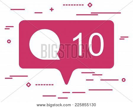Illustration Of Flat Pink Ten Like Comment Social Media Icon On White Background With Line Art