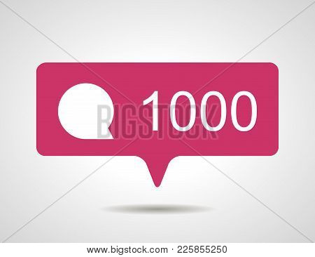 Illustration Of Flat Pink Chiliad Like Comment Social Media Icon On Grey Background