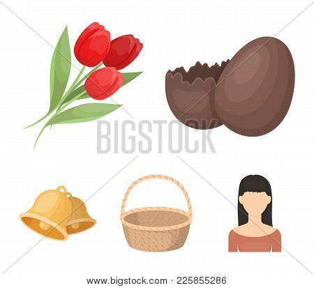 Chocolate Egg, Bells, Basket And Flowers.easter Set Collection Icons In Cartoon Style Vector Symbol