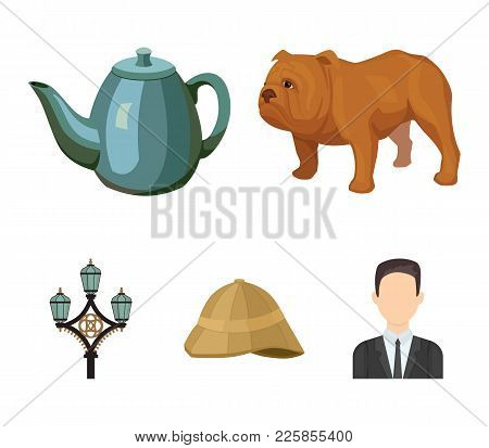 Breed Dog, Teapot, Brewer .england Country Set Collection Icons In Cartoon Style Vector Symbol Stock
