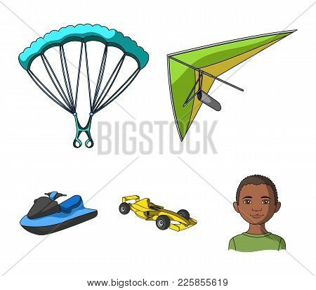 Hang Glider, Parachute, Racing Car, Water Scooter.extreme Sport Set Collection Icons In Cartoon Styl
