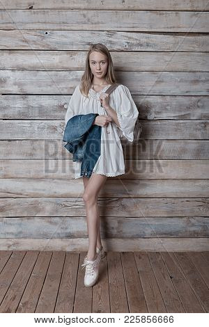 Beautiful Girl Wearing Natural Makeup, Linen Dress And Boots. Concept Of Purity, Youth, Beautiful Sk