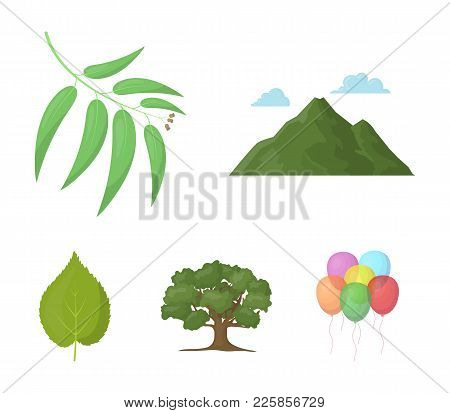 Mountain, Cloud, Tree, Branch, Leaf.forest Set Collection Icons In Cartoon Style Vector Symbol Stock
