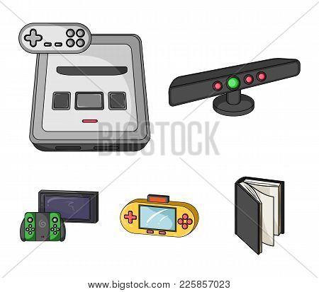 Game And Tv Set-top Box Cartoon Icons In Set Collection For Design.game Gadgets Vector Symbol Stock