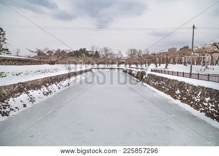 Frozen Moat Of Hakodate Japan Fort Goryokaku During Winter.