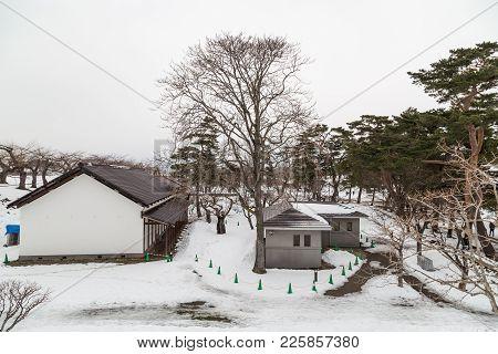 Buildings Within Hakodate Japan Fort Goryokaku During Winter With Snow.