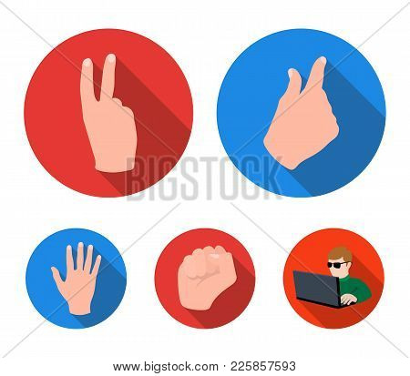 Open Fist, Victory, Miser. Hand Gesture Set Collection Icons In Flat Style Vector Symbol Stock Illus