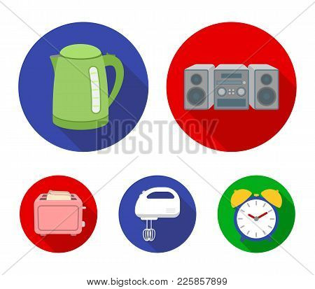 Electric Kettle, Music Center, Mixer, Toaster.household Set Collection Icons In Flat Style Vector Sy