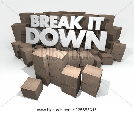 Break it Down Smaller Packages Cardboard Boxes 3d Illustration
