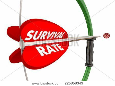 Survival Rate Bow Arrow Target Increase Odds 3d Illustration