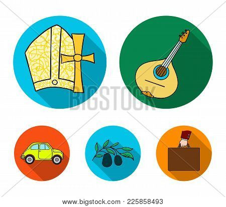 Mandolin, papa, olive, retro auto.Italy country set collection icons in flat style vector symbol stock illustration . poster