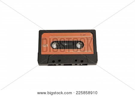 View Of Old Audio Tape Cassette Isolated On White Background With Clipping Path