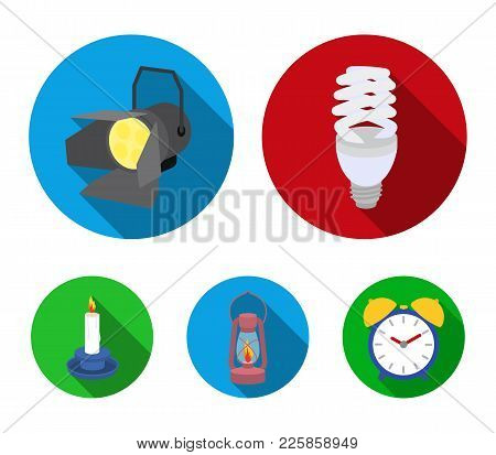 Economy Lamp, Searchlight, Kerosene Lamp, Candle.light Source Set Collection Icons In Flat Style Vec