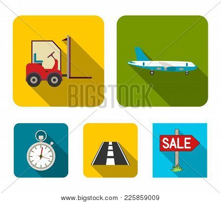 Cargo Aircraft, Forklift, Stopwatch, Road.logistic Set Collection Icons In Flat Style Vector Symbol