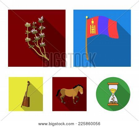 National Flag, Horse, Musical Instrument, Steppe Plant. Mongolia Set Collection Icons In Flat Style