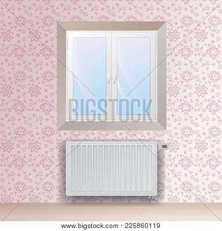 Steel Panel Radiator Under The Window. Heating Equipment With Electronic Thermostatic Head. Vector W