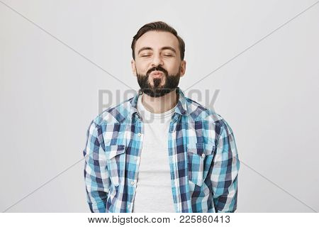 Portrait Of Attractive Middle-aged Bearded Man, Waiting For Kiss With Folded Lips And Excitement, Cl